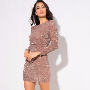 sequin champagne body con dress (2)