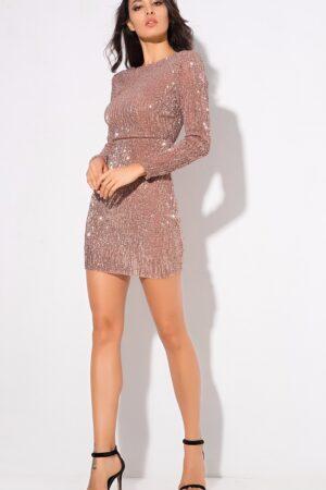 sequin champagne body con dress (2)