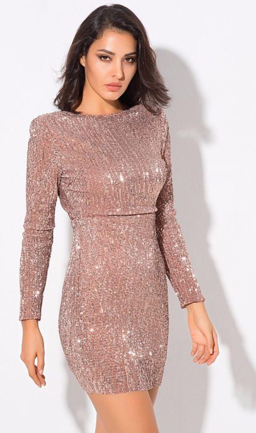 sequin champagne body con dress (5)