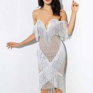 silver fringe party dress 7