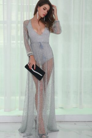 silver glitter backless dress (1)