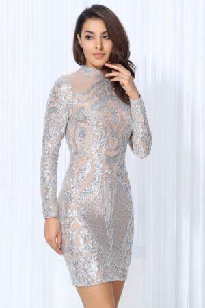 silver nude sequin dress (2)