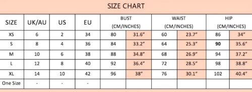 Lily Blue evening gown size chart