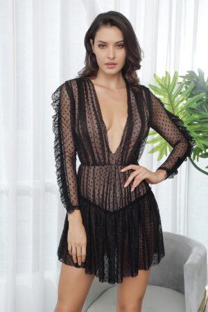 Nikki Black Plunge Dress