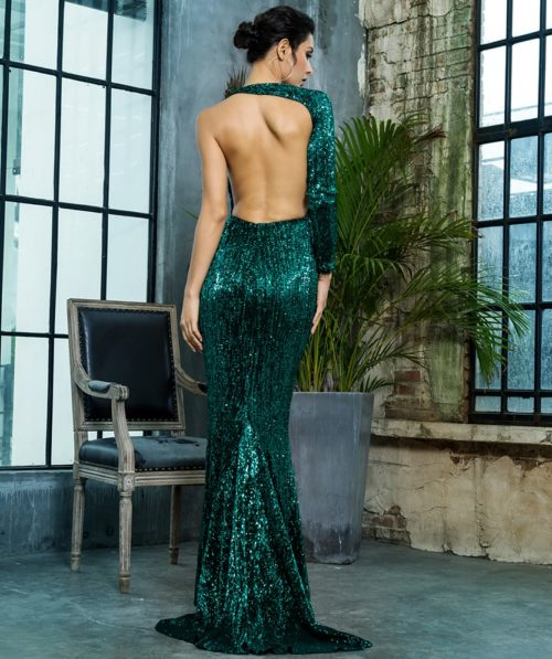 Paloma Green Sequin Gown 5