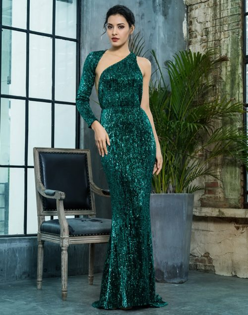 Paloma Green sequin gown 2