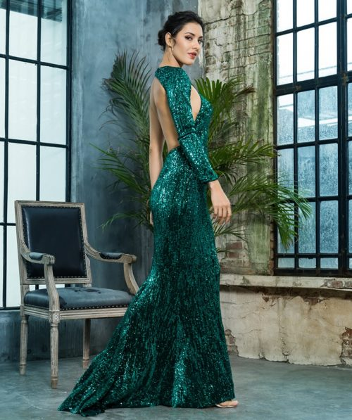 Paloma Green sequin gown 4