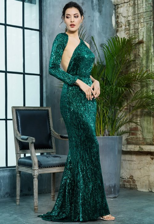 Paloma green sequin gown 3