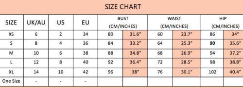 Paloma size chart