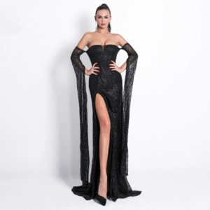Sarika Black Slit Gown