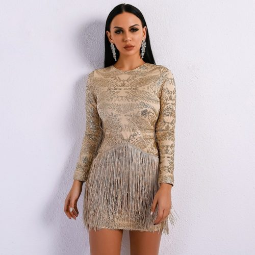 Atrina Beige Fringe Dress 2