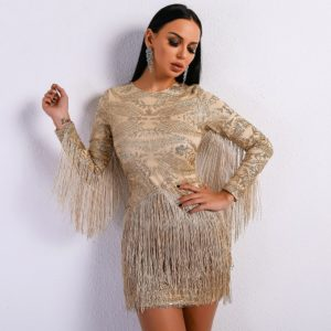 Atrina Beige Fringe Dress