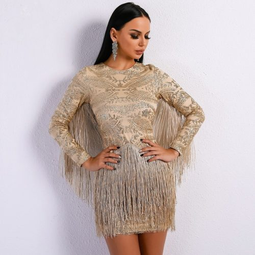 Atrina beige fringe dress 3