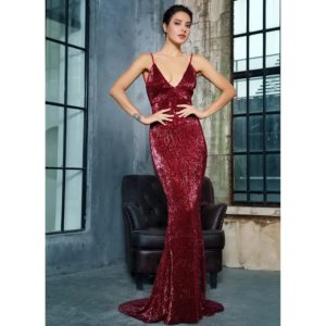Tianshe Dark Red Sequin Gown