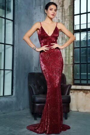 Tianshe Dark Red Sequin Gown