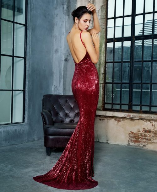 Tianshe Dark Red sequin Gown 4