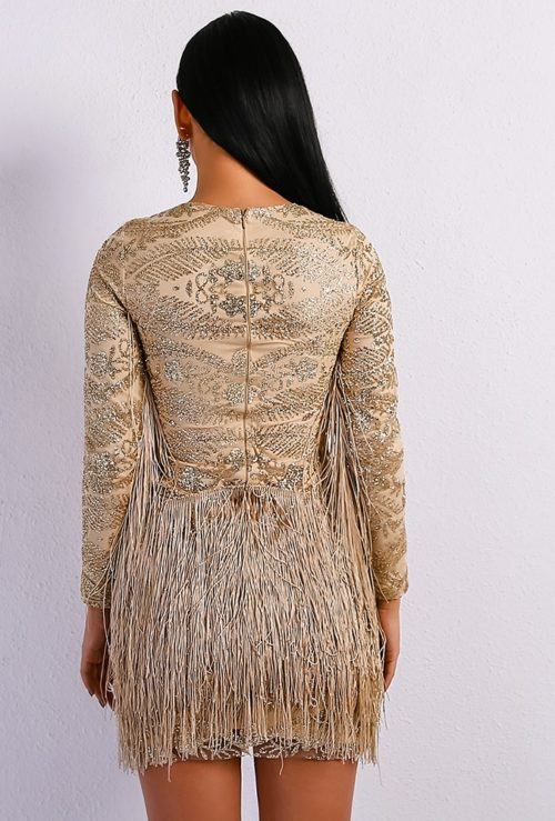 atrina Beige fringe dress 5