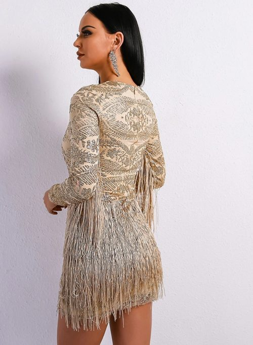 atrina beige fringe dress 4